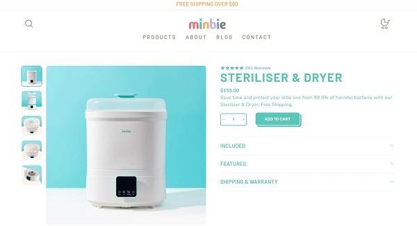 minibie online store example bottle sterilizer