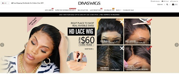 diva wigs online store example selling wigs