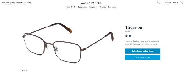 warby parker light filtering lenses