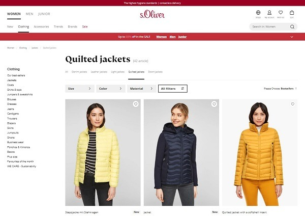 quilted jacket ecommerce product example s.oliver