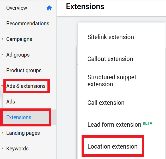 add-location-extensions-google-ads-step-1