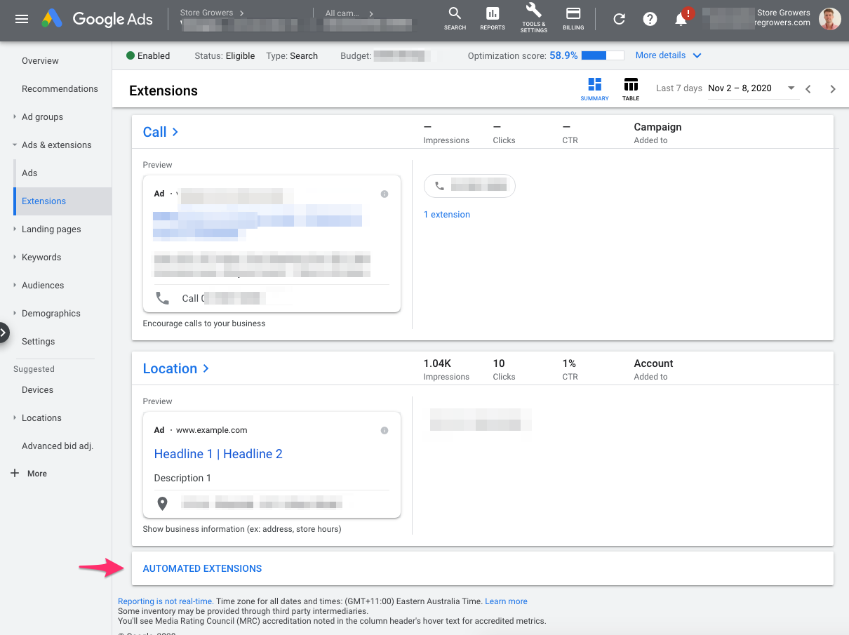how-to-find-automated-ad-extensions