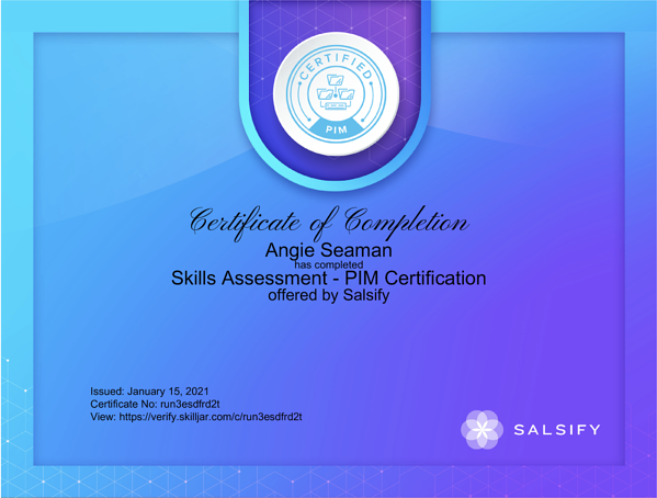 Salsify Certificate of Completion PIM Certification Example