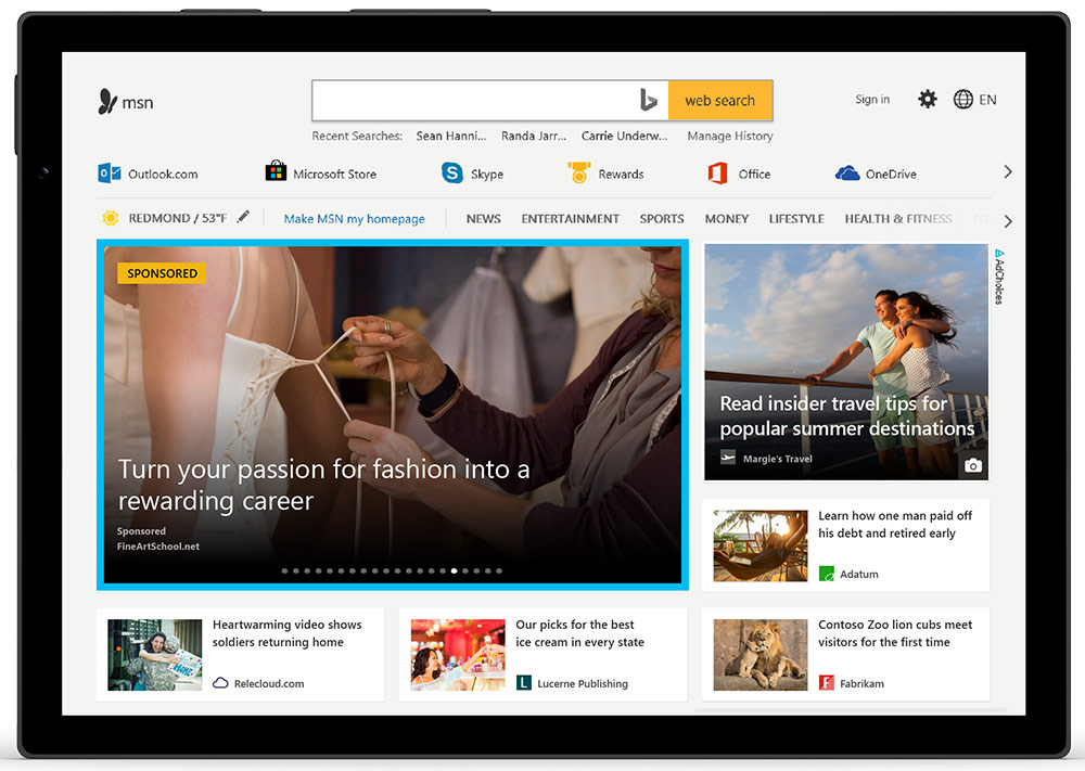 Microsoft audience ad placement