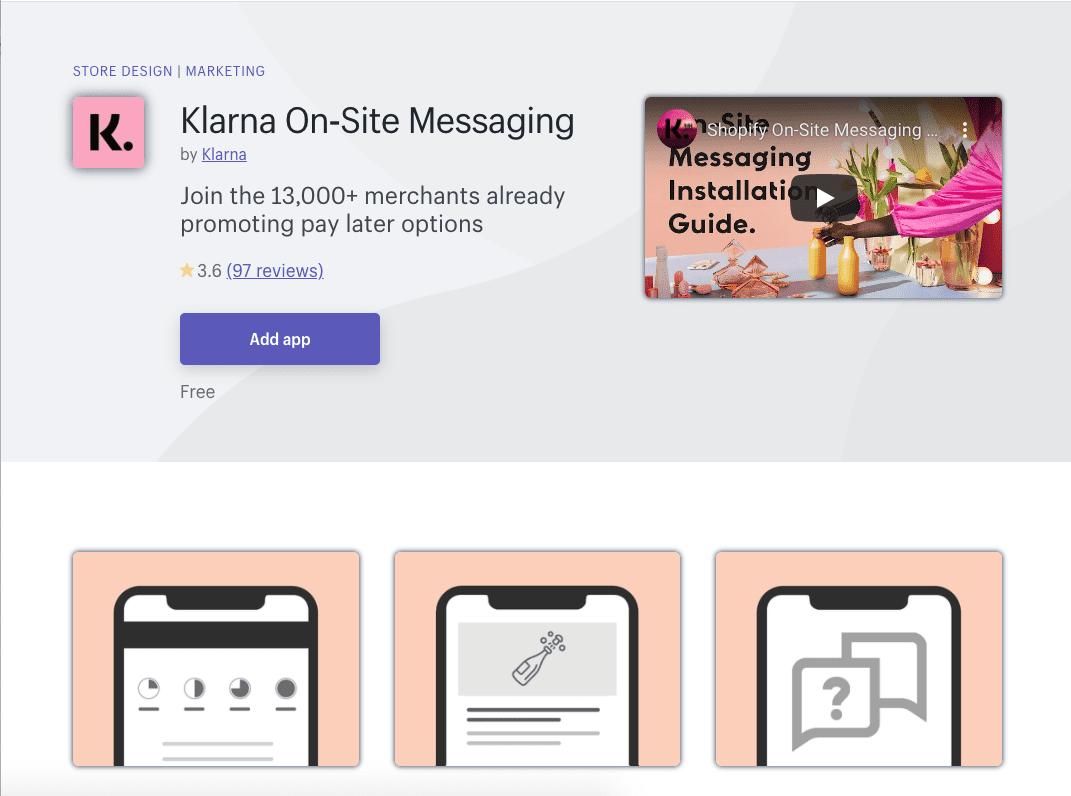 Klarna On-Site Messaging Shopify App