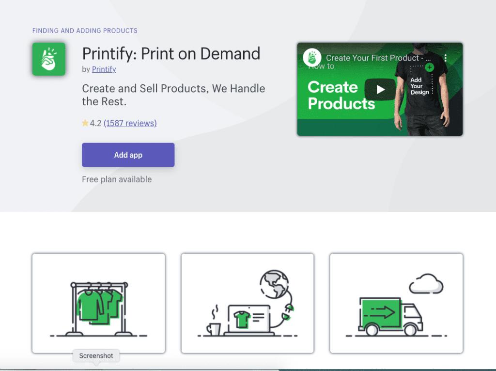 Printify Shopify app
