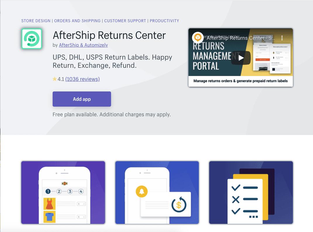 Aftership Returns Center Shopify app