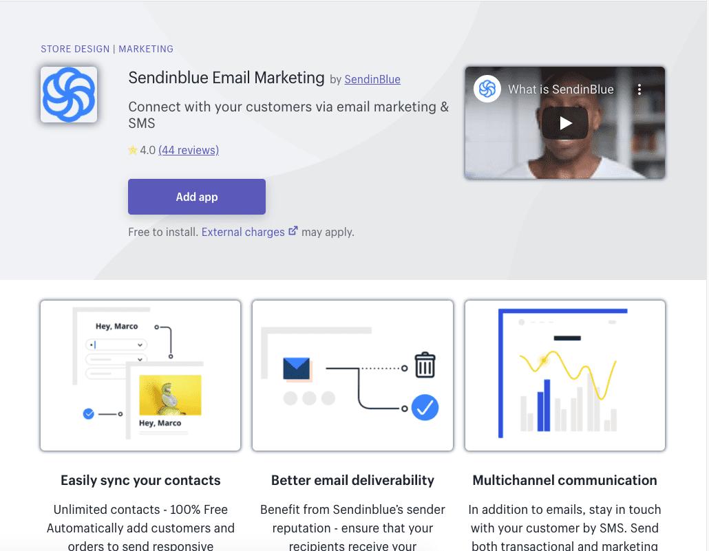 SendinBlue Shopify app