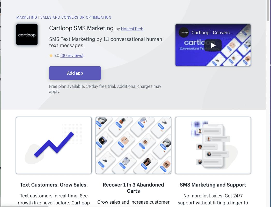 Cartloop Shopify app