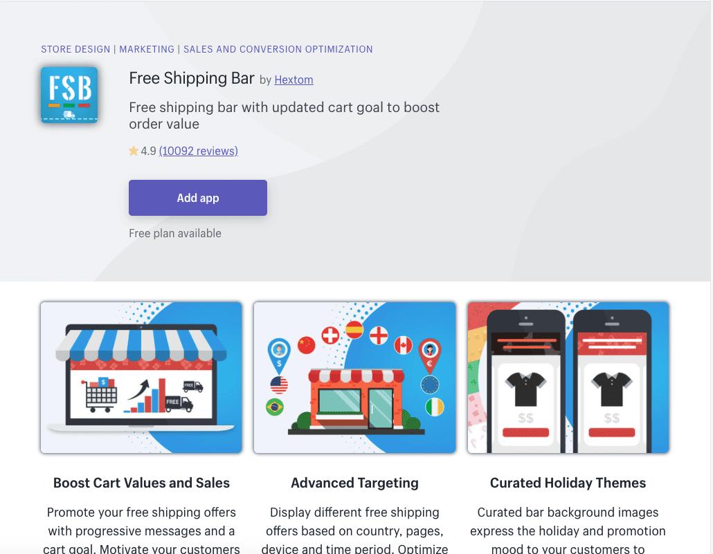 Free Shipping Bar Shopify app