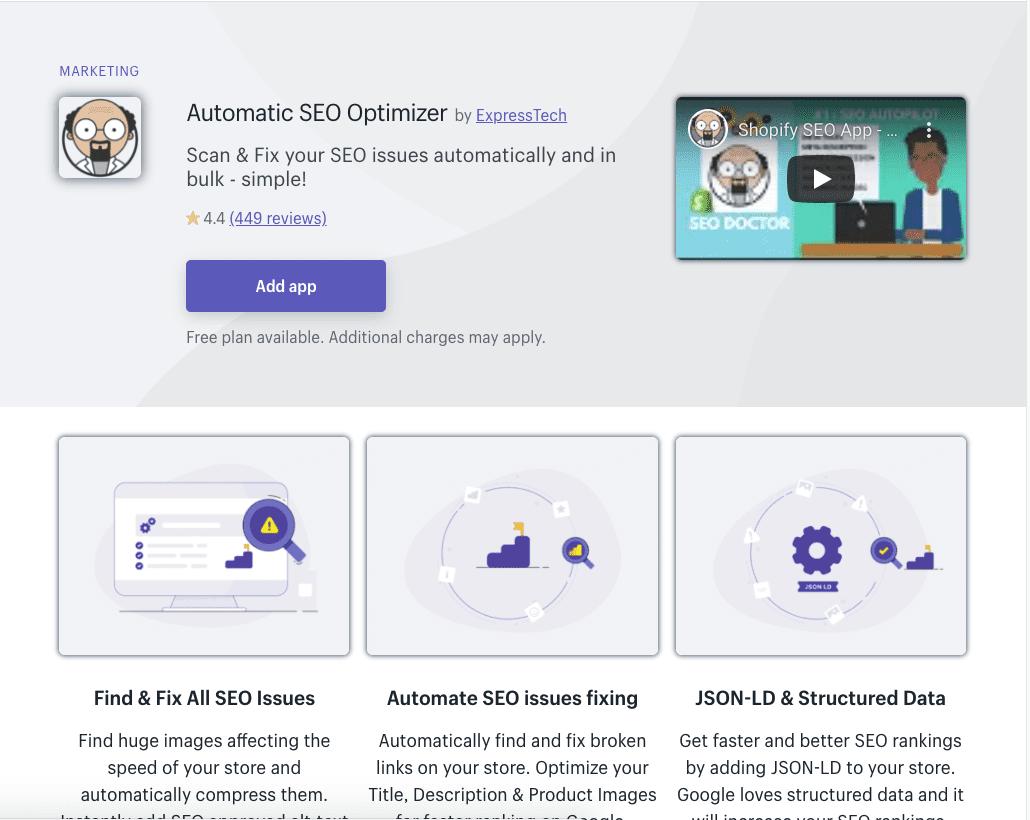 Automatic SEO Optimizer Shopify app