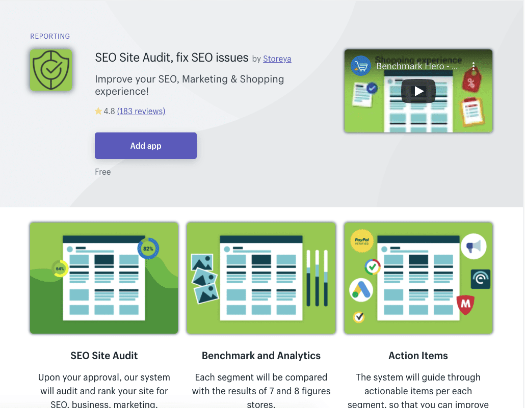 SEO Site Audit Shopify app