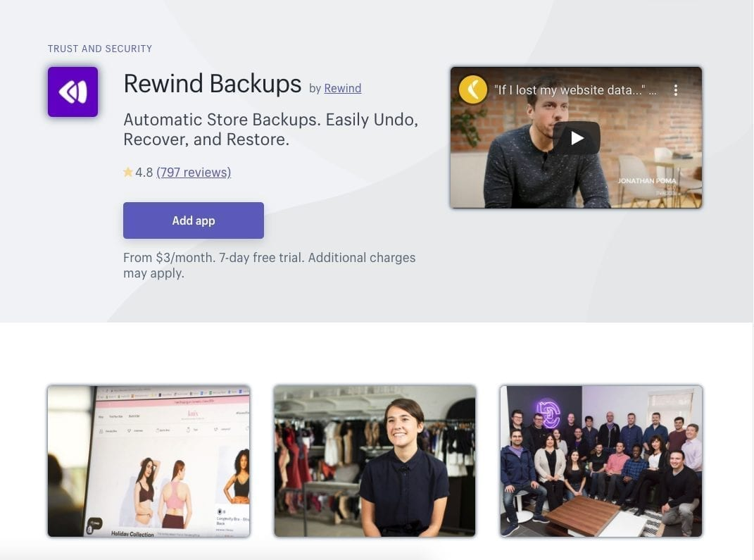 Rewind Backups Shopify Apps
