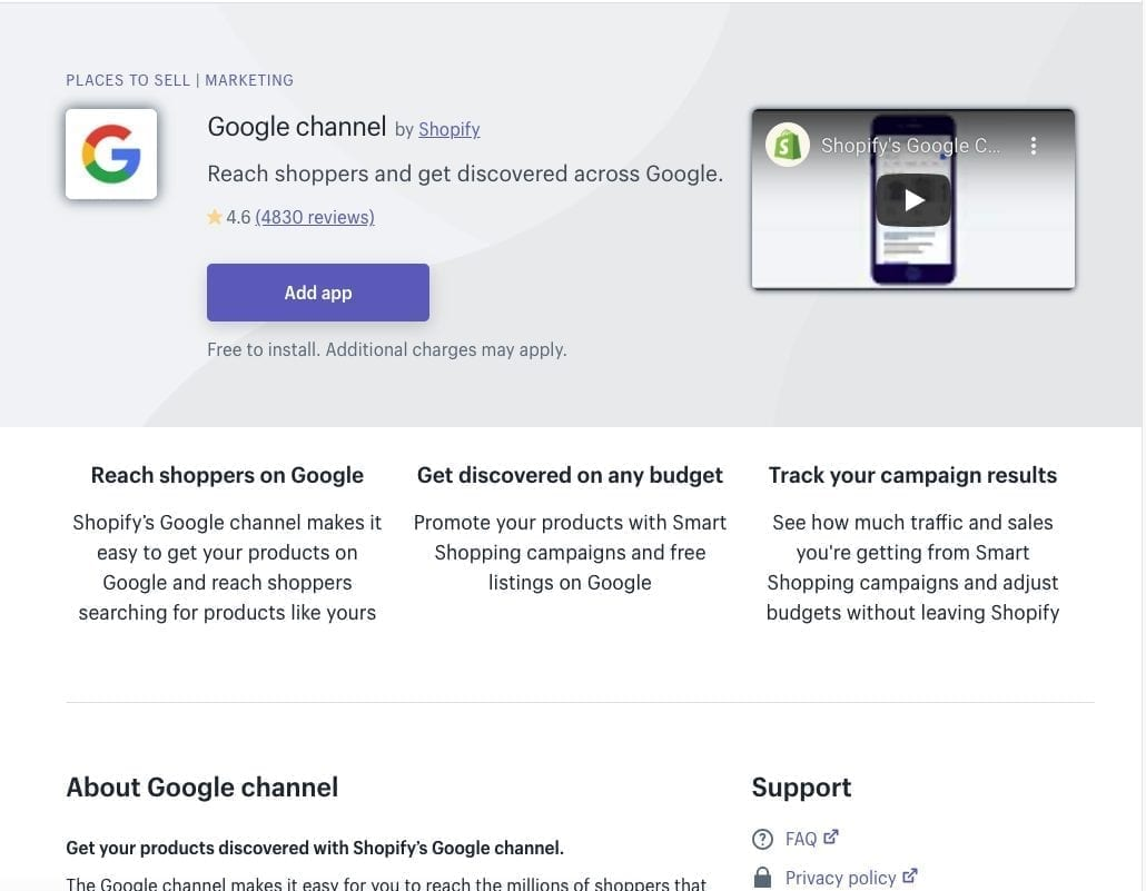 Google Channel Shopify App