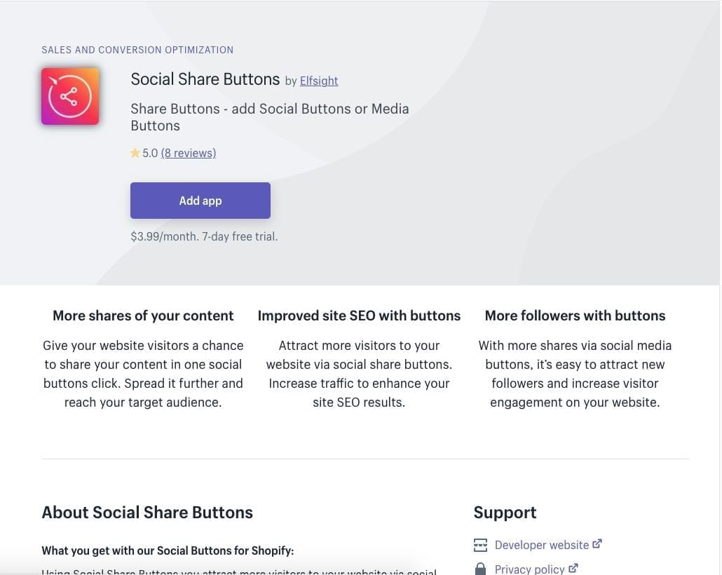 Social Sharing Buttons Shopify app