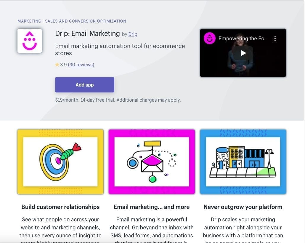 Drip Email Marketing Shopify app