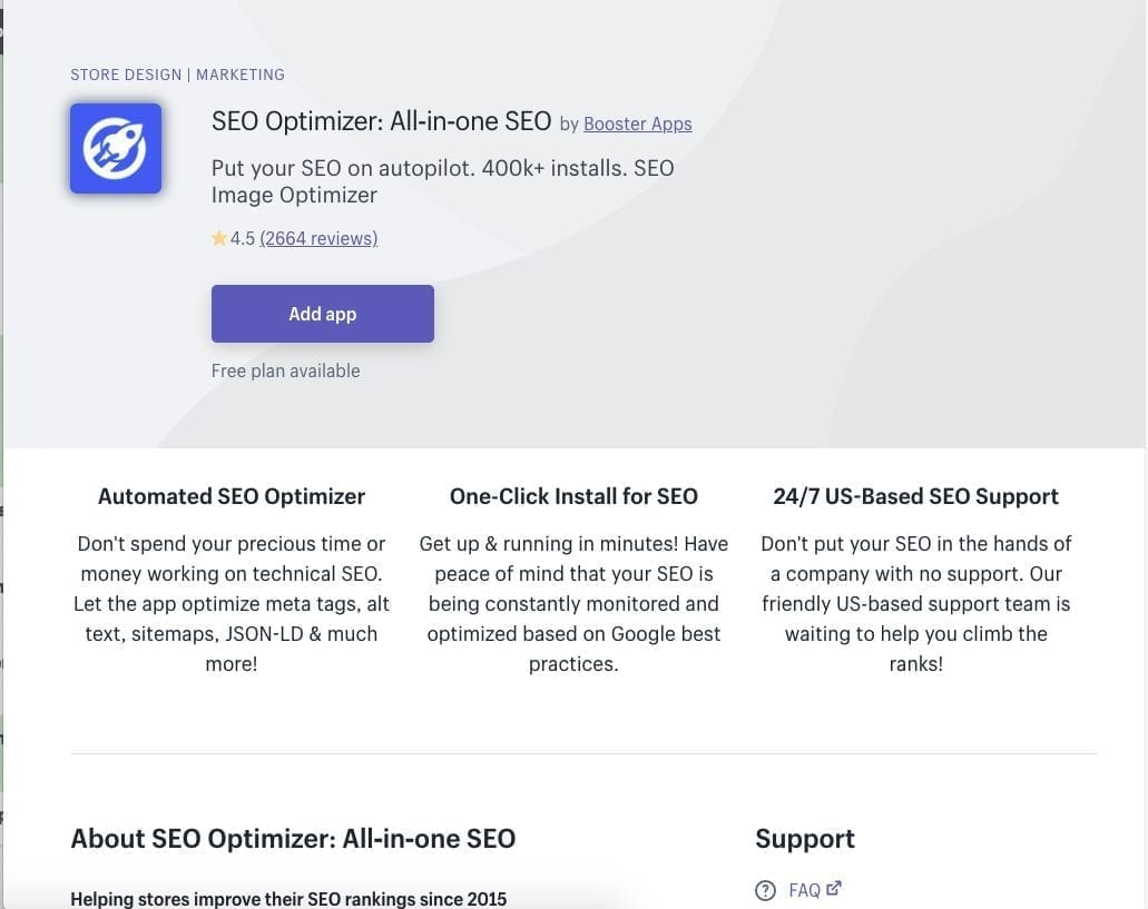 SEO Optimizer All-in-One SEO Shopify app
