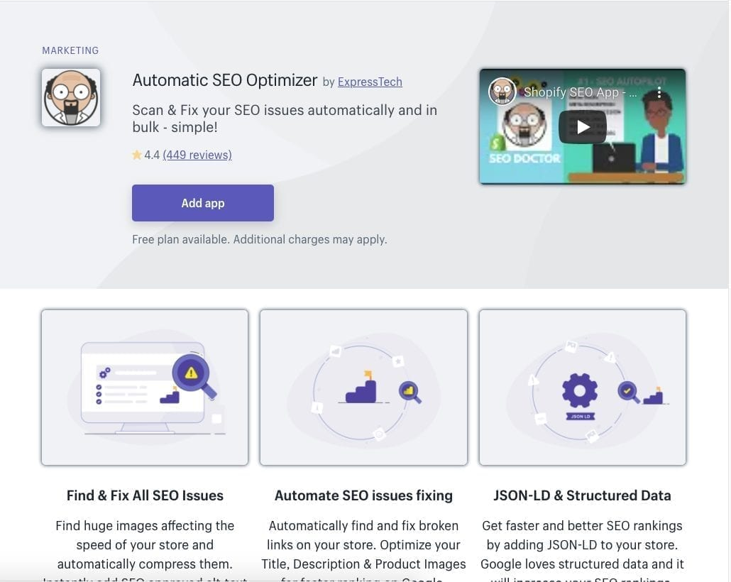 Automatic SEO Optimizer Shopify app
