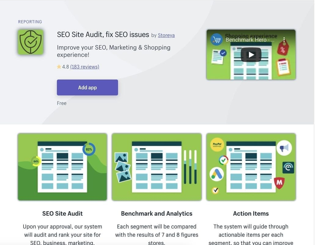 SEO Site Audit Shopify app