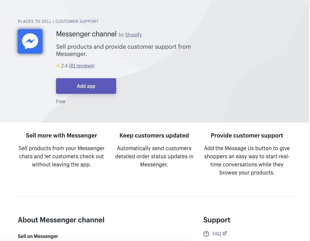 Messenger Channel Shopify App