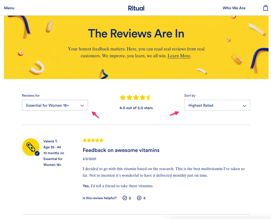 ritual vitamins reviews page