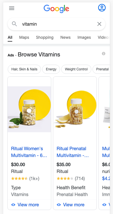 ritual google shopping ads