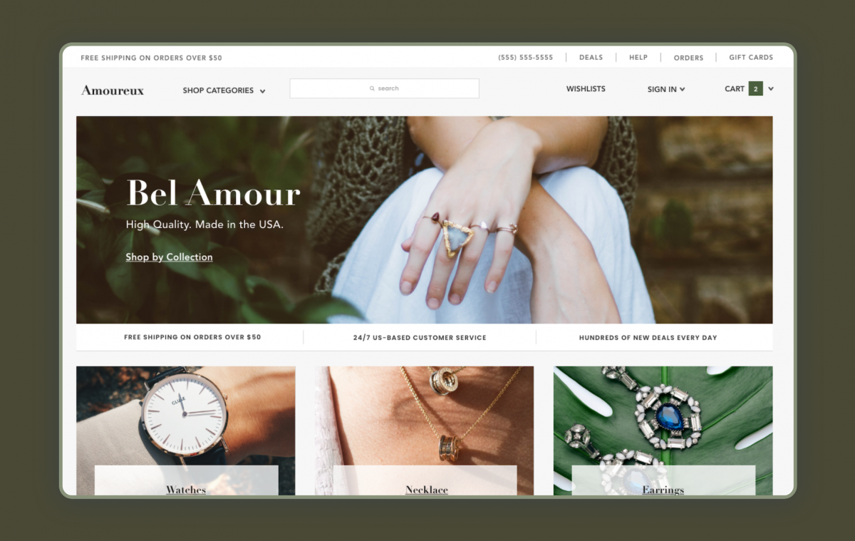 A jewelry website designed to fit today's online shopping expectations.
