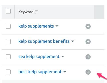 semrush add keyword to manager