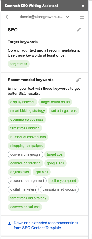 semrush-seo-writing-assistant-recommended-keywords