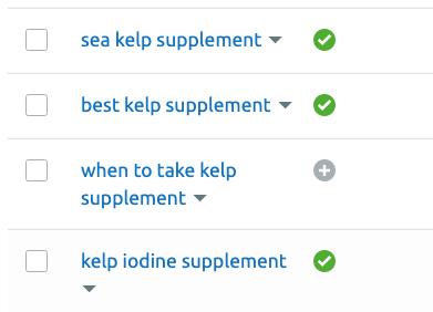 semrush keyword on list