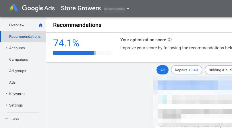 google account optimization score