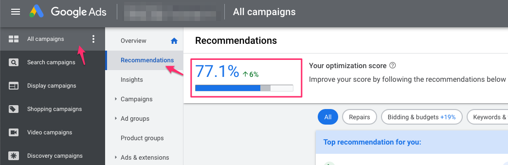 google manager account mcc optimization score