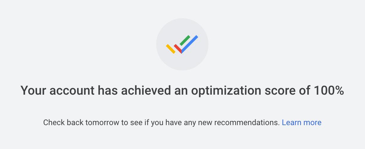 perfect 100 percent optimizations score
