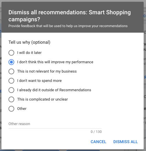 dismiss optimization score recommendations part 2