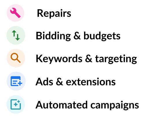 optimization score recommendation categories