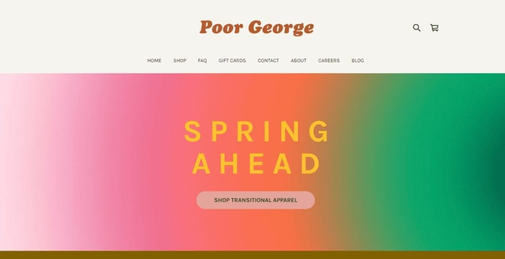 Poor George an example of A Square Online Store