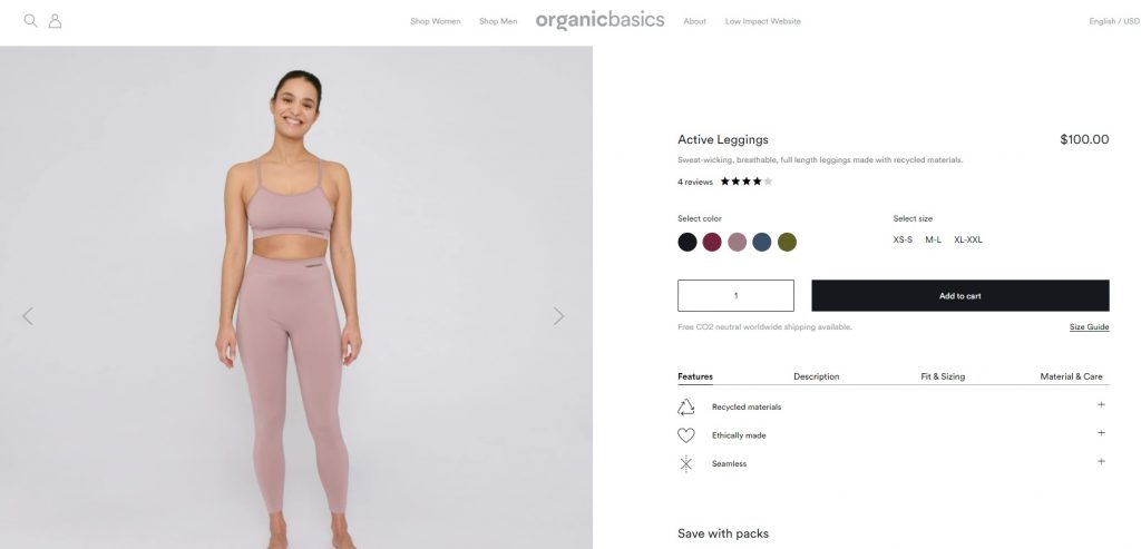 sustainable athleisure product example