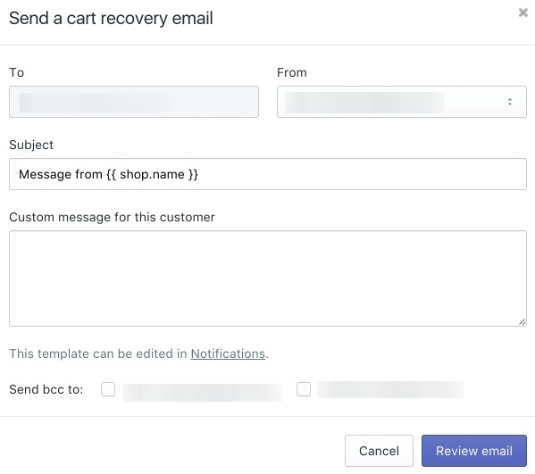 Shopify Abandoned Cart Recovery Email