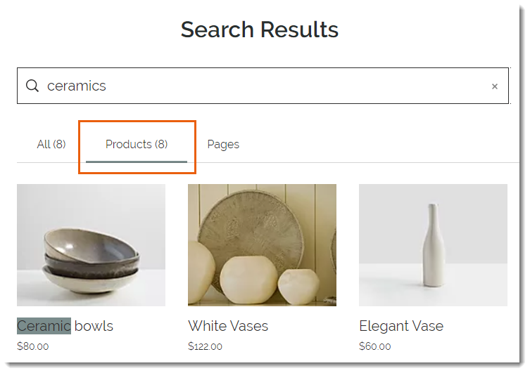 Wix Product Search