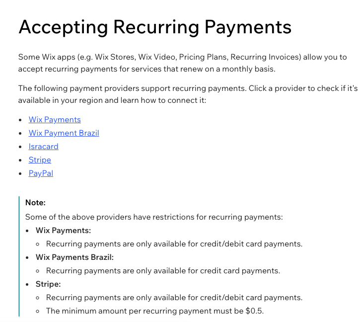 Wix.com Accepting Reccuring Payments