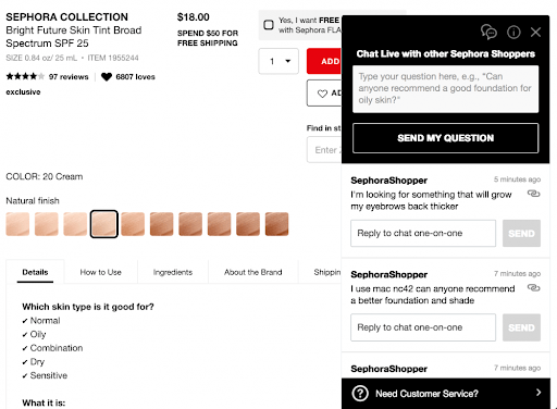 2. Leverage Live Chat to Drive a Community-Led Experience and Find New Leads You can use the live chat functionality to hyper-personalize the customer experience, as Sephora's live chat demonstrates below: